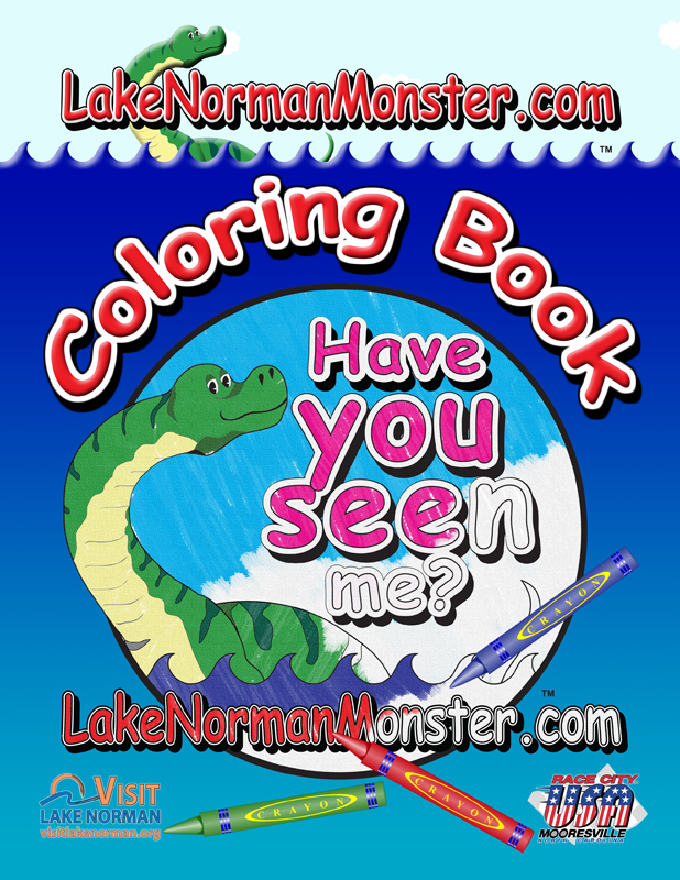 Book cover design for Lake Norman Monster - Children's Coloring Book