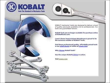 2002 Kobalt Brand Site for Lowe's