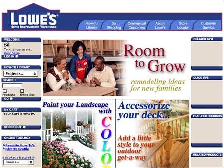 2000 e-commerce Site for Lowe's
