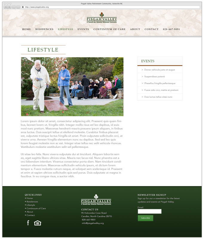 Retirement Community - Content Page