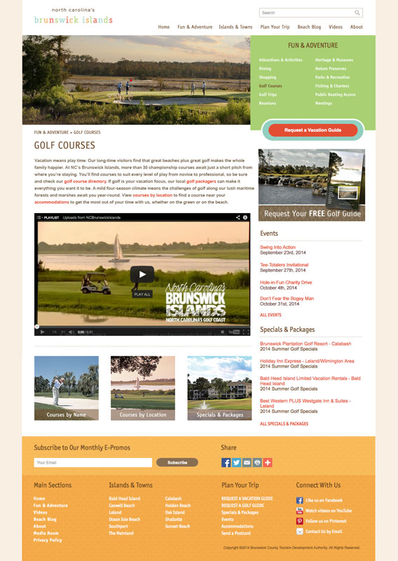 NC's Brunswick Islands - Golf Landing Page